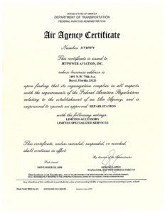 Jetpower Aviation FAA Certificate