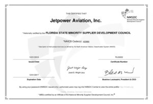 Jetpower Aviation Minority Certificate